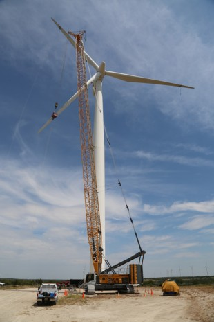 The Liebherr LR 1300 SX crawler crane in a wind park in Texas