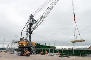 The new LHM 180 is ABP Newport's third Liebherr mobile harbour crane