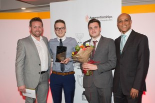 Liebherr GB Ltd wins annual award three times in a row: Lee Mason (Apprentice Programme Generalist), Ryan Brookes (Business Support Apprentice), Tom Darlow (Business Support Apprentice) and Michael Nicol (SFA) (f.l.)