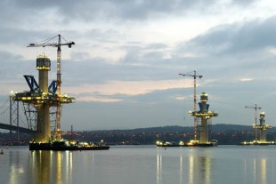 Liebherr Cranes used on the construction of Queensferry Crossing.