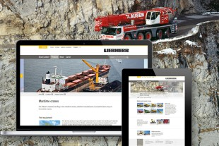 Product areas for mobile and crawler cranes and maritime cranes divisions with new design at liebherr.com.