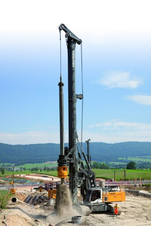 Liebherr LB 36 rotary drilling rig working in Switzerland.