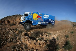 Africa Eco Race winners: Pilot Anton Shibalov, navigator Robert Amatych and mechanic Almaz Chisamiev