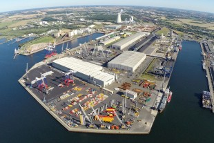 The maritime production site at the Baltic Sea in Rostock, Germany