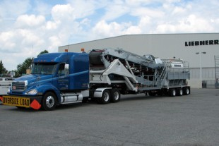The Liebherr Mobile Twin Shaft Mixer (MTS) ready for road transport.