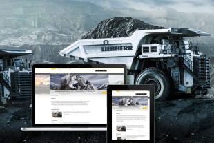 Product areas of Liebherr mining equipment with a new look at liebherr.com.
