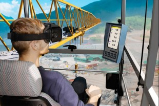 Under realistic conditions crane drivers can receive training on the operation of Liebherr tower cranes in a virtual environment.