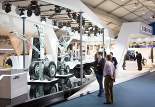 Liebherr-Aerospace stand displaying the company's state-of-the-art products and expertise
