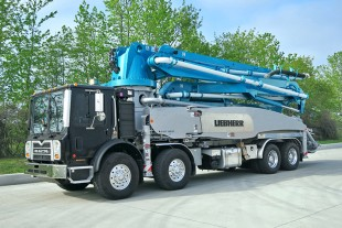 The 41 meter, truck mounted concrete pump from Liebherr is destined for the Canadian market