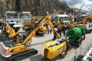 The Liebherr stand at Hillhead 2016 enjoying a brief moment of sunshine.