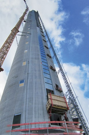 thyssenkrupp test tower for lift technology with Liebherr crane 280 EC-H 12