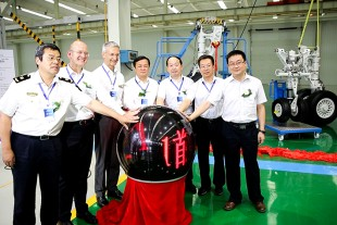 At the ceremony of the delivery of the first ARJ21 landing gear assembled in China in September 2016 at Liebherr LAMC Aviation (Changsha) Co., Ltd.