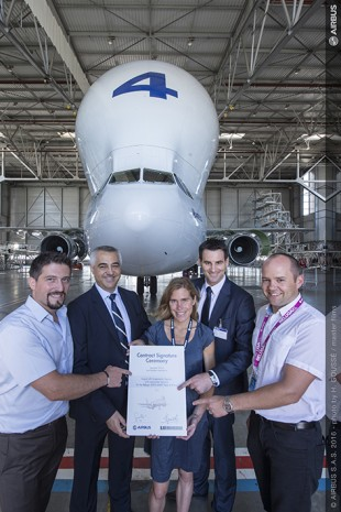 Representative of Airbus and Liebherr-Aerospace during the contract signature ceremony.