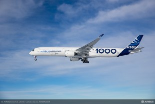 The A350-1000 during its maiden flight with the nose landing gear of Liebherr extended