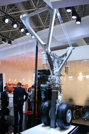 Liebherr-Aerospace presented an A350 XWB nose landing gear at the Airshow China 2016