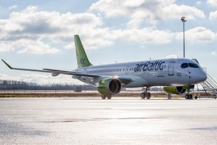 The CS300 aircraft (here in airBaltic livery) flies with technology made by Liebherr-Aerospace - Copyright Bombardier.