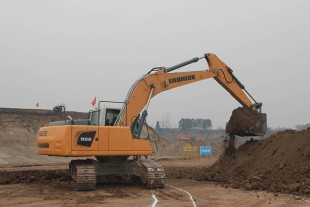 The Liebherr R 922 crawler excavator being used for earthmoving works at the Meibei Lake construction project close to the town of Xi'an.