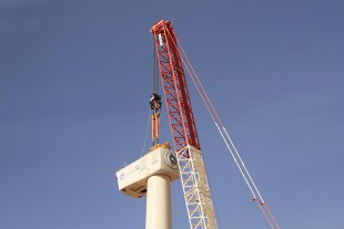 The 83 tonne nacelle is being installed on the 84 metre tower
