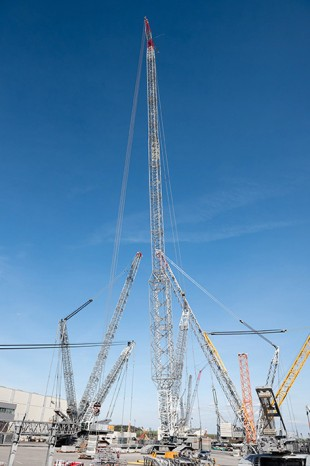 The SX2 boom system is tested on the Liebherr acceptance site