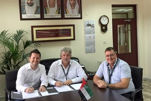 Names from left to right: Günter Berthold - Liebherr Sales Manager, Capt. Cliff Brand - Group General Manager RAK Ports, David Owen - Port Engineering Manager RAK Ports
