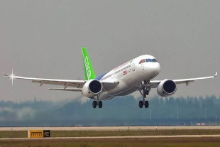 COMAC C919 during its maiden flight with Liebherr technology on board - © COMAC