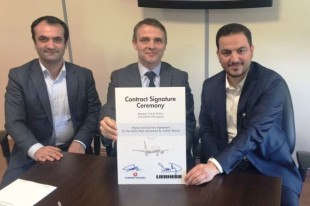 Yalçın Sabri Melek, Repair Pursuit Manager at Turkish Technic (left), Salih Ince, Component Services Director at Turkish Technic (right) and Pierre Soulacroup, Regional Sales Manager, Liebherr-Aerospace & Transportation SAS (in the middle) at the contract signature ceremony - © Liebherr