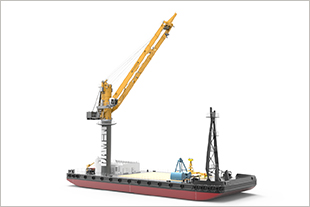Liebherr CBG 350 on a Transshipment Crane Barge 6324 built by Damen