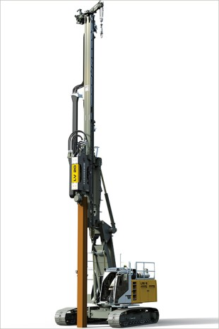Rendering of an LRB 16 with vibrator installing a slurry wall.