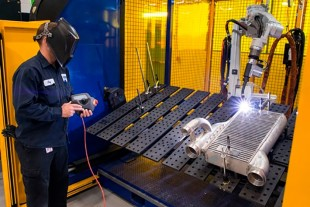 Welding of a heat exchanger at Liebherr-Aerospace in Saline, Michigan (USA)
