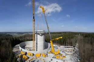 Water tower and foundation in one: the so-called active basin for the future energy storage system will be forty metres high. That will make the wind turbines on top of it the tallest in the world.