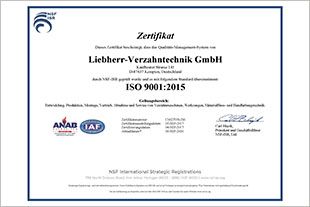 Liebherr-Verzahntechnik GmbH in Kempten is now certified under the new ISO standard.