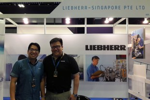 Dominic Almoradie (left) and David Tan of Liebherr-Aerospace Singapore welcomed the visitors.