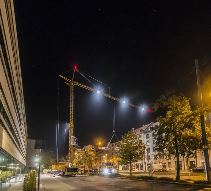 Liebherr MK 88 Plus mobile construction crane turns night into day