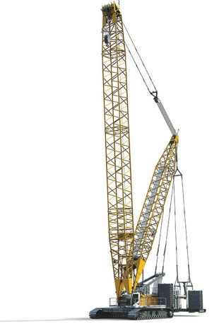 The brand new crawler cranes LR 1300 SX with derrick boom and displaceable suspended counterweight.