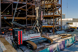 Superior Rigging and Erecting Co. operates Liebherr LR 1300 SX Crawler Crane at the Hard Rock Hotel and Casino