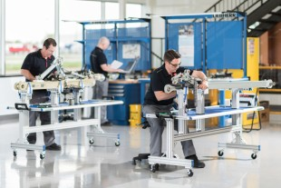 Landing gear assembly at the Aerospace and Transportation Systems Division at Liebherr-Canada Ltd. in Laval, near Montreal