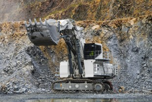 The Liebherr R 9200 E operating in an open-cast mine for the company Lausitzer Grauwacke (Eurovia) in Saxony.
