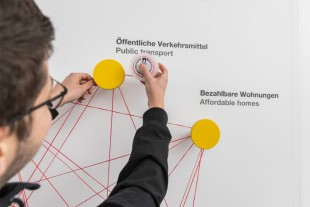 At the Spin & Vision activity at the Liebherr booth visitors can link the three terms, which are the most important for them now and in the future.