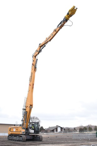 The Liebherr R 950 High Reach Demolition Excavator, shown here with a demolition cutting attachment.