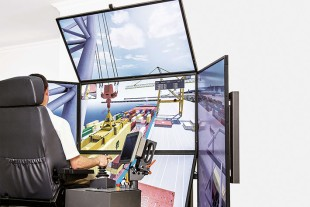 Mobile harbour crane and ship crane simulation on one simulator