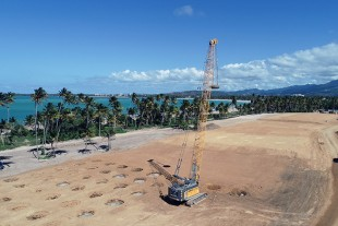 Densification, Inc. chose a Liebherr HS 8100 crane to perform dynamic soil compaction work on a luxury residential project in Puerto Rico.