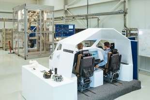 A flight simulator at the Liebherr Aerospace E-Wing Research Centre in Lindenberg, Germany.