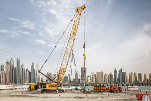 A new harbour is emerging on the Persian Gulf in front of Dubai's skyline.