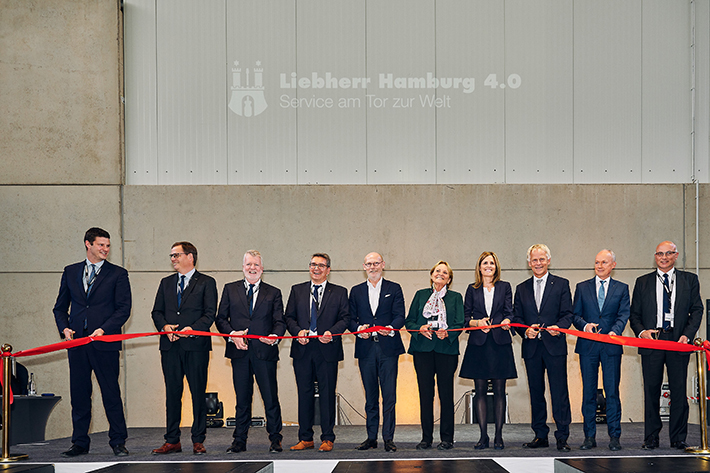 Official opening of new Liebherr sales and service centre in Hamburg Port with members of the family.