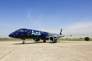 The E195-E2 celebrated its Entry-into-Service with launch customer Azul Linhas Aéreas. - Copyright Embraer