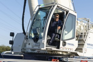 "Happy – crane operator Markus Götzen is absolutely delighted with his new mobile crane: ""Liebherr have built a real beauty."""