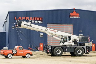 One of the new winners in the books of LaPrairie crane in Western Canada, the LRT 1090-2.1 rough terrain crane from Liebherr.