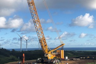 The Liebherr crawler crane of Buckner is erecting eight new wind turbines in the surfers paradise.