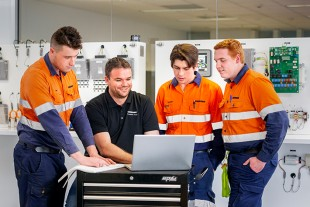 National Technical Training Manager James Ward with apprentices.
