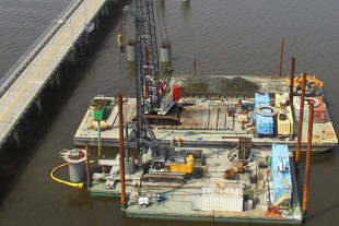An aerial view of the Liebherr LB 36-410 drilling rig at work on the Harbor River Bridge project in Beaufort County, South Carolina.